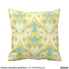 Modern teal yellow girly ikat tribal pattern throw pillow.  Artwork designed by Tint And Beyond Gift Store. Price $32.90 per pillow
