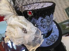 Mini Top Hat handmade from Haunted Mansion wallpaper fabric (periwinkle)