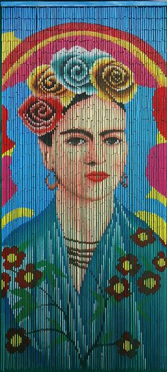 Hand painted Beaded Curtain- Frida