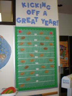 Sports themed classroom welcome board