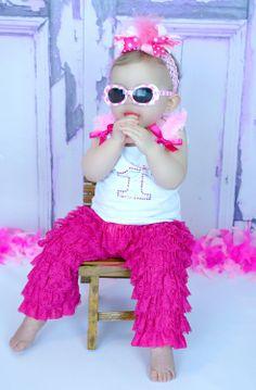 Girls BBC Birthday Hot Pink Rhinestone Number Sparkle Pettipants Set