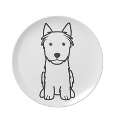 Silky Terrier Dog Cartoon Plates