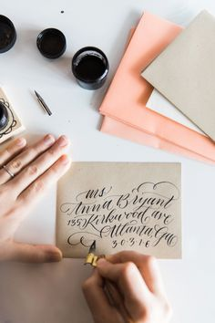 Photography: Kathryn McCrary  - www.kathrynmccrary.com  Read More: http://www.stylemepretty.com/living/2015/02/27/how-to-calligraphy-envelopes-a-giveaway/