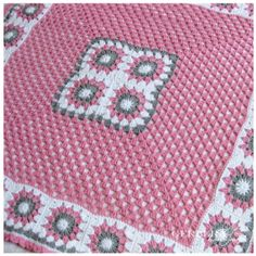 CROCHETED BABY AFGHAN Blanket gray pink and by RainbowGerbera, $60.00