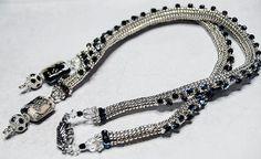 Silver Stars- handmade, OOAK, beadwoven necklace