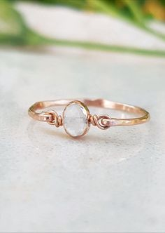 Wire Wrapped Ring,Statement,Gemstone,Bridesmaid,White,Handmade,Gift for Her,June Birthstone Ring,Moonstone Ring, Rose Gold Filled 14k Ring