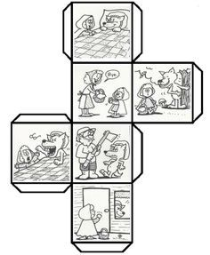 Have students color, cut, fold, and paste to make a story cube that can be used to retell Story Cubes, English Activities, Book Activities, Little Pigs, Little Red, Fairy Tale Crafts, Traditional Tales, Retelling, Red Riding Hood