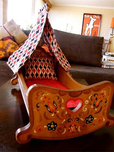hungarian style paint decor cradle