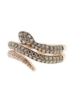 EF Collection 14k Gold Diamond Snake Ring 2FWEj