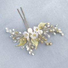 Excited to share the latest addition to my #etsy shop: Bridal hair pin gold Wedding headpiece pearl Flower hair comb Rhinestone hair pin pearl Silver leaf hair pin Wedding bobby pins https://etsy.me/2qPkUX4 #svadba #aksessuary #zolotoj #serebranyj #bridalhairpingold #w