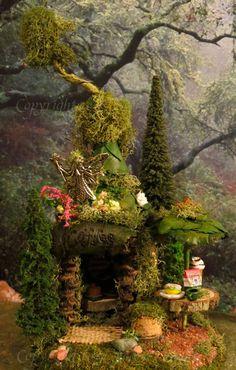 Fairy House, Woodland Village Coffee, Miniature House, Fairies, Fairy Houses, Woodland. $48.00, via Etsy.