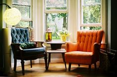 I'd love to do his and her wing chairs by a window. It reminds me of the movie Up where the couple grows old together drinking tea on their his and her wing chairs.