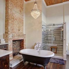 What are your thoughts when it comes to #exposed elements in a #home? Show it off or cover it up? Visit our blog for more! (link in bio) Bathroom by MLM INCORPORATED by qualitybath Bathroom designs.