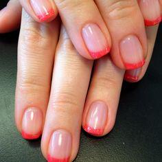 Neon glitter french manicure
