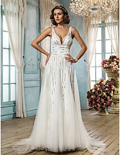 Chic & Modern/Glamorous & Dramatic A-line/Princess Straps Sweep/Brush Train Wedding Dress ( Satin/Tulle/Sequined/Lace )