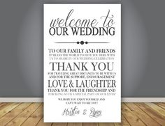 ADD ON Thank You Note Wedding Program Add On Guest Back Page 55x85