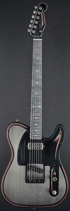 James Trussart Guitars - SteelCaster Satin Black Pinstripe Antique Silver Holey