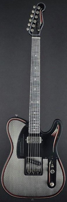 James Trussart Guitars - SteelCaster Satin Black Pinstripe Antique Silver Holey