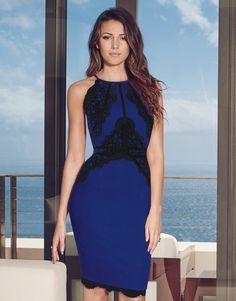 Michelle Keegan Lace Applique Highneck Dress