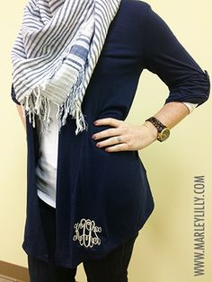 Monogrammed Ladies Shrug...gah, just to furl my latest obsession