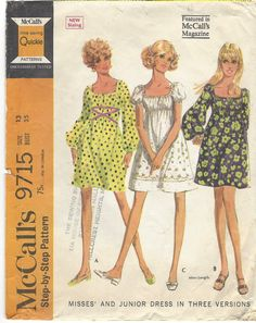 1960s Simplicity Sewing Pattern 9715 Womens Mod Mini Pullover