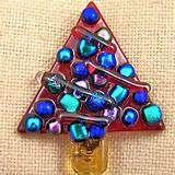 Fused Glass Christmas Tree Pendant | Fused Glass Pendants etc
