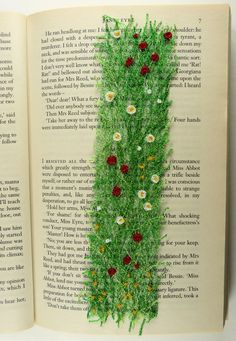 Meadow bookmark: textile art, free machine embroidered