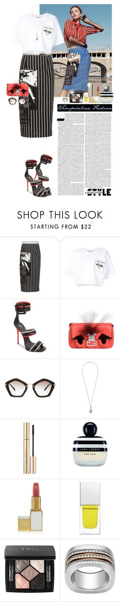 """""""Dress to entertain yourself ~"""" by vampirelina ❤ liked on Polyvore featuring Kerr®, Miu Miu, Moschino, Giuseppe Zanotti, Fendi, Alexander McQueen, Dolce&Gabbana, Marc Jacobs, Tom Ford and Givenchy"""