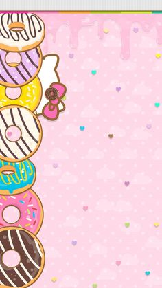 Donut 1 Cute Galaxy Wallpaper, Beach Wallpaper, Kawaii Wallpaper, Mobile Wallpaper, Iphone Wallpaper, Hello Kitty Backgrounds, Hello Kitty Wallpaper, Purple Crafts, Hello Kitty Pictures