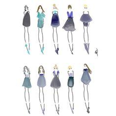 Shades of Blue #fashion #fashionillustration #bybc