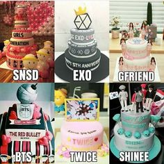 I want the one with Bts *^* Snsd, Shinee, Exo Birthdays, Bts Cake, Monster Party, Kpop Diy, Got7, Birthday Cake, Birthday Parties
