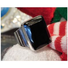 Vintage Mexican Black Onyx Ring Sterling Silver Modernist Chunky Statement Ring Mexico 925 Unisex Ring Heavy Think Bold Size 8 Eight Ring ($79) found on Polyvore featuring women's fashion, jewelry and rings