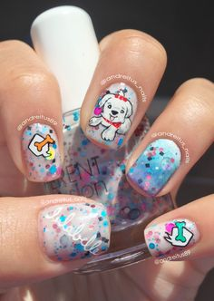 Different Dimensions Polish. Doggy nail art. Cute nails. NOTD
