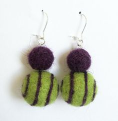 Felt earrings in Lime and Aubergine. Felt Ball, Felt Ornaments, Needle Felting, Jewlery, Handmade Jewelry, Jewelry Making, Drop Earrings, Beads, Knitting