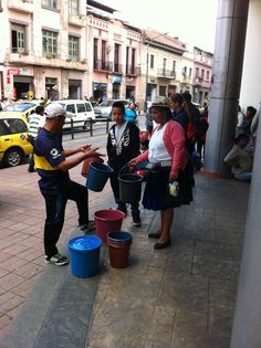 Selling buckets in Cuenca, Ecuador