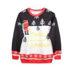 Femme Fille Noël Tops de Loisir T-Shirts Léger Sweaters Blouse Sweat-shirts Pulls Noël Noir et Blanc