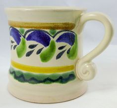 Majolica Mexican Cup Gorky Gonzalez GTO Blue Green Yellow Signed Handmade | eBay