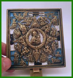Russia orthodox bronze icon Virgin The Burning Bush. Enameled.