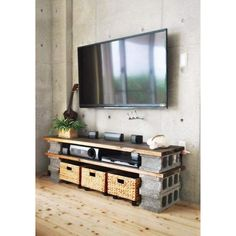 TV Table Made By Cinder Blocks For DVD Players