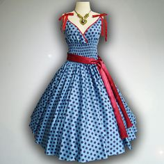 GERTRUDE!!!!!!Charming Blue Big Blue Polka Dot 50s Pin up Rockabilly Swing Dress Full Swing Skirt size M-L