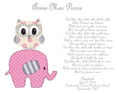 Baby Girl Baptism Gift  Christening Gift for by SnoodleBugs, $15.00