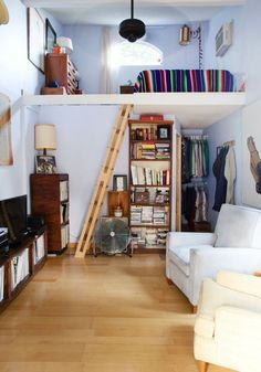 RICK - Lofted bed area for studio room. Would prefer ladder/stairs running perpendicular to loft.