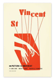 St. Vincent - Nashville. Designed by Alvin Diec. Creative take on st. vincent gig poster. the art of pattern/music and movement in reversals