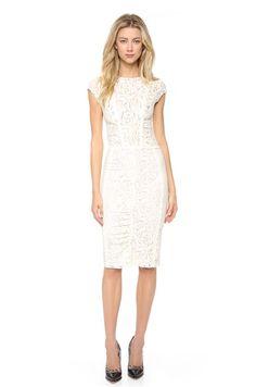 Nina Ricci Lace All Over Detailed Ivory Dress