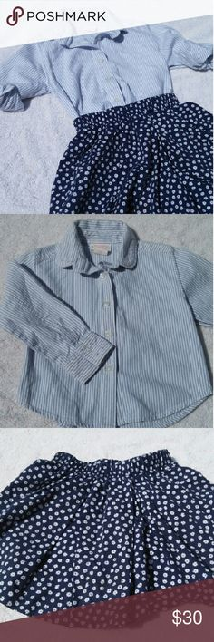 Hartstrings Girl's Top and Shorts Outfit This out includes a blue and white striped button down oxford and adorable navy blue with white flowers cotton shirts.  Excellent condition! Hartstrings Matching Sets