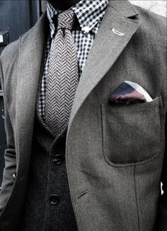 When it comes to British tailoring good quality tweed and herringbone are timeless, I need to be more confident mixing shade and texture like this.