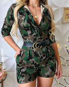 Style:Fashion Pattern Type:Camouflage Material:Polyester Neckline:Turn-down Collar Sleeve Style:Three Quarters Length:short Occasion:Casual Package Belt) Camouflage, Two Piece Rompers, Moda Chic, Romper Dress, White V Necks, Rompers Women, Pattern Fashion, Fashion Outfits, Style Fashion