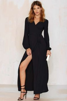 Nasty Gal New Attitude Wrap Dress - Black   Shop Clothes at Nasty Gal!