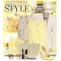 """Yellow & Cream"" by brendariley-1 on Polyvore"
