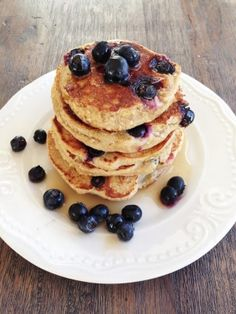 Ripped Recipes - Three Ingredient Pancakes - Quick, easy, and delicious!! And only 3 ingredients (plus the syrup and blueberries of course :)